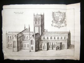 Daniel King 1656 Antique Print. Worcester Cathedral, UK. Etching